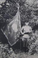 Москалев В.С. у знамени части. 1944 г.